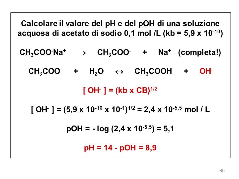 CH3COO-Na+  CH3COO- + Na+ (completa!) CH3COO- + H2O  CH3COOH + OH-