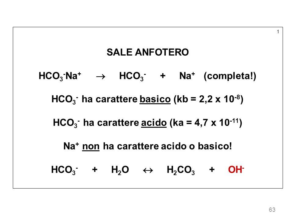 HCO3-Na+  HCO3- + Na+ (completa!)