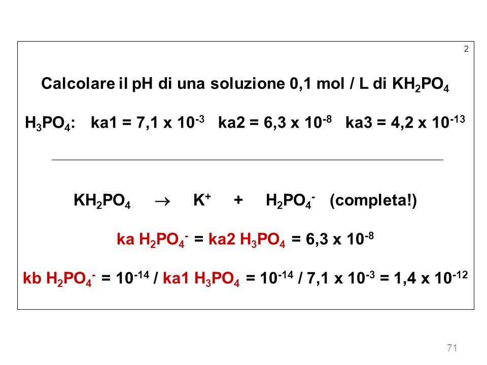 Calcolare il pH di una soluzione 0,1 mol / L di KH2PO4