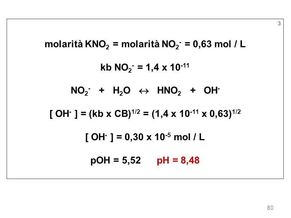 molarità KNO2 = molarità NO2- = 0,63 mol / L kb NO2- = 1,4 x 10-11