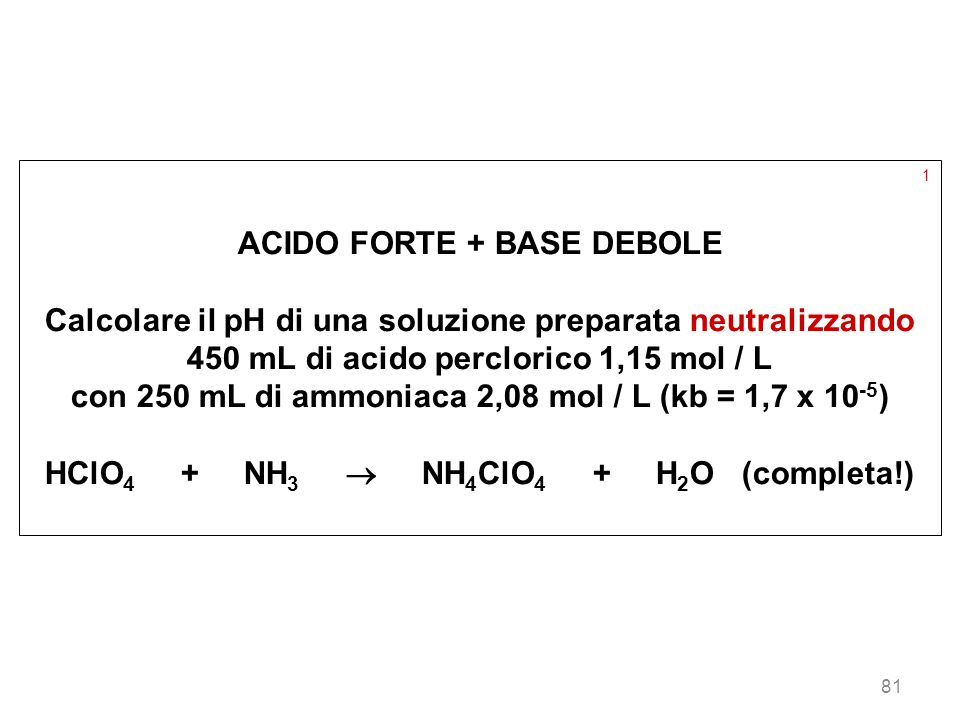 ACIDO FORTE + BASE DEBOLE