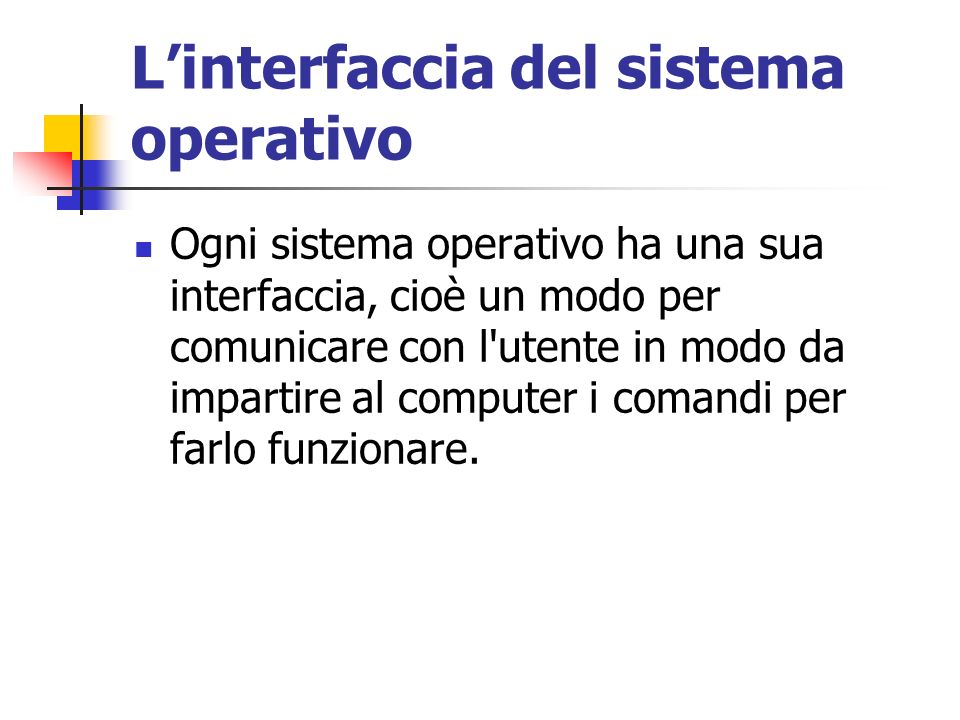 L'interfaccia del sistema operativo