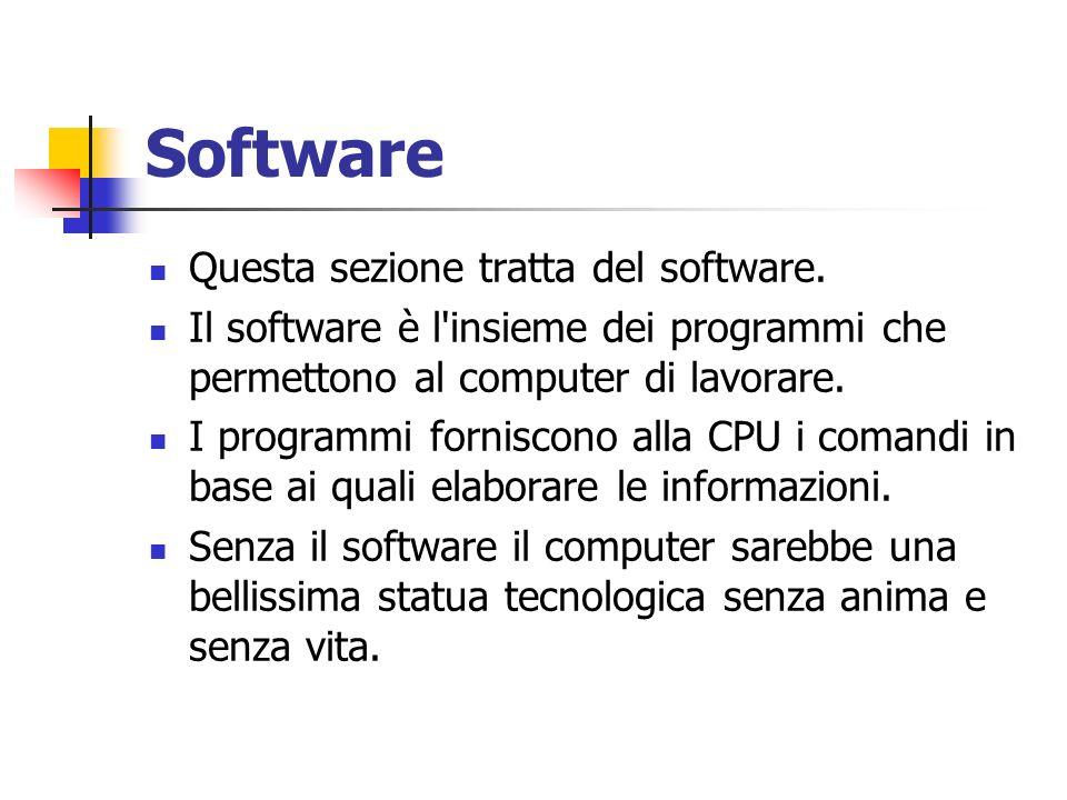 Software Questa sezione tratta del software.