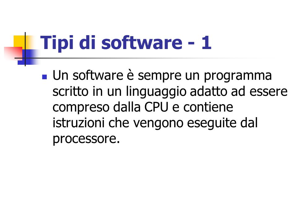 Tipi di software - 1