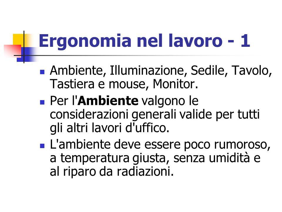 Ergonomia nel lavoro - 1 Ambiente, Illuminazione, Sedile, Tavolo, Tastiera e mouse, Monitor.