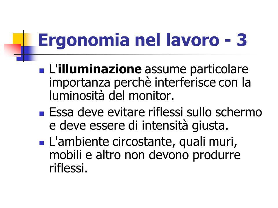 Ergonomia nel lavoro - 3 L illuminazione assume particolare importanza perchè interferisce con la luminosità del monitor.