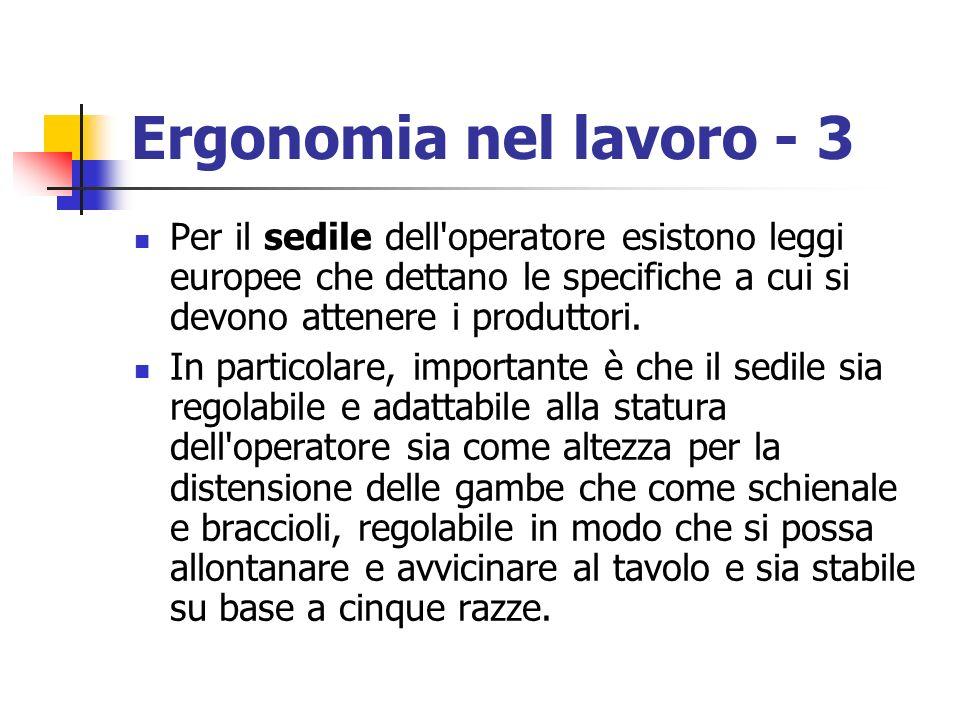 Ergonomia nel lavoro - 3 Per il sedile dell operatore esistono leggi europee che dettano le specifiche a cui si devono attenere i produttori.