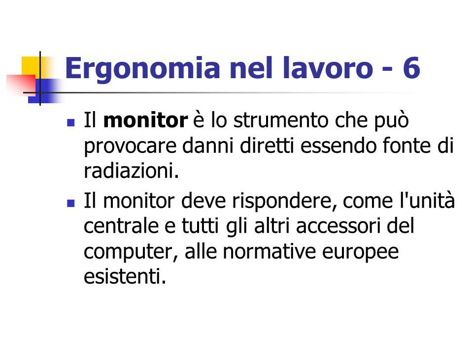 Ergonomia nel lavoro - 6 Il monitor è lo strumento che può provocare danni diretti essendo fonte di radiazioni.