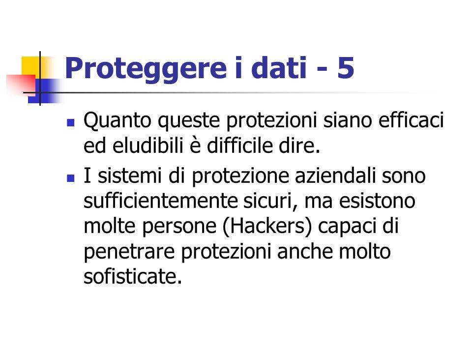 Proteggere i dati - 5 Quanto queste protezioni siano efficaci ed eludibili è difficile dire.