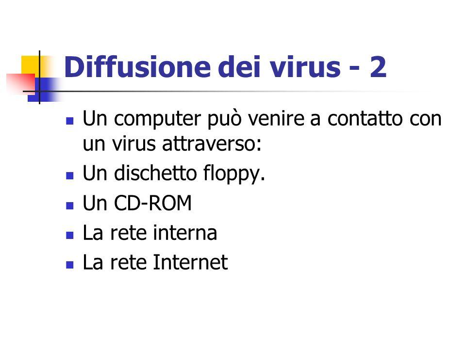 Diffusione dei virus - 2 Un computer può venire a contatto con un virus attraverso: Un dischetto floppy.