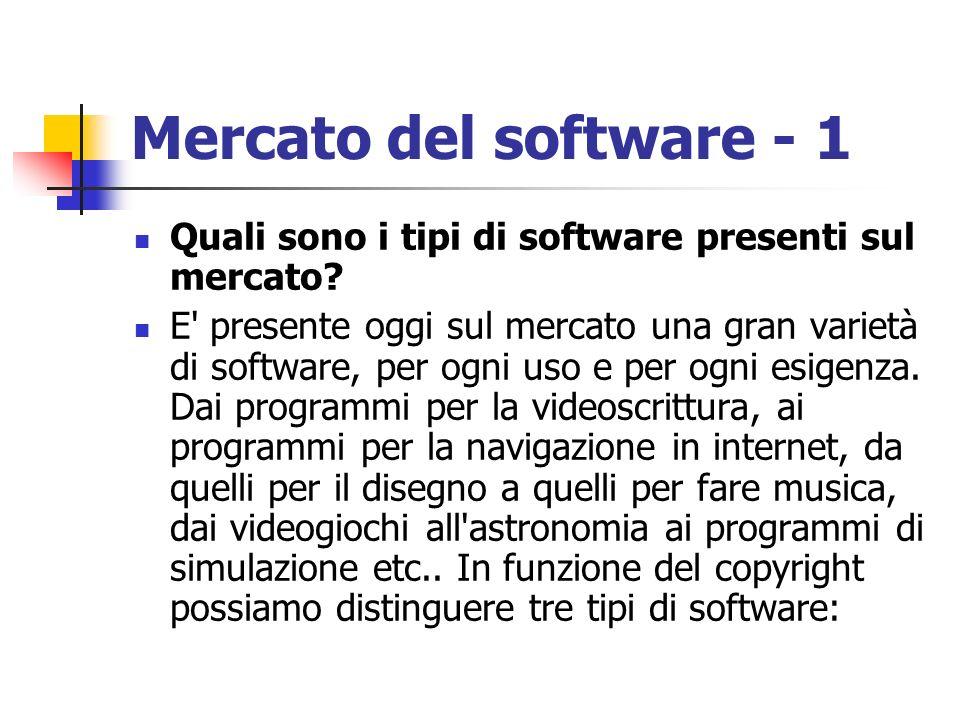 Mercato del software - 1 Quali sono i tipi di software presenti sul mercato