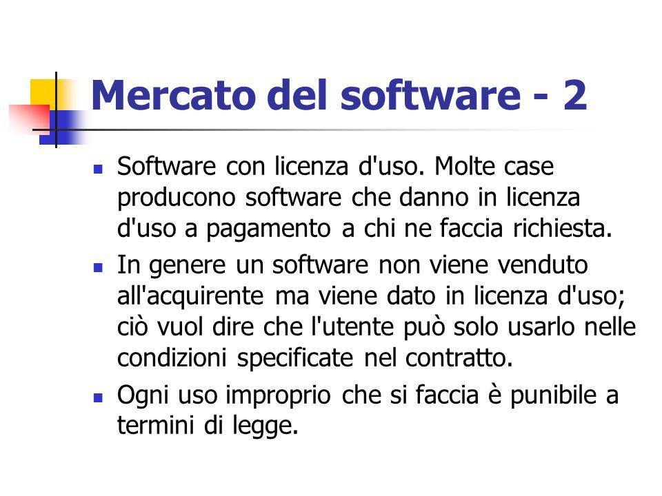 Mercato del software - 2 Software con licenza d uso. Molte case producono software che danno in licenza d uso a pagamento a chi ne faccia richiesta.
