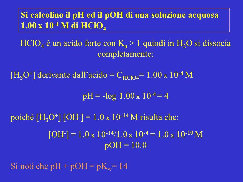 Si calcolino il pH ed il pOH di una soluzione acquosa 1