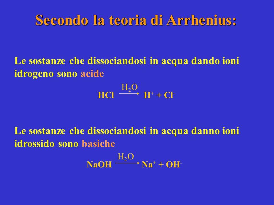 Secondo la teoria di Arrhenius: