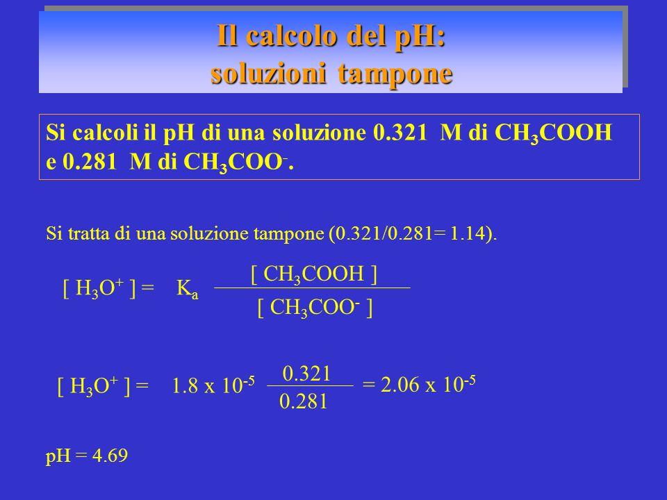 Il calcolo del pH: soluzioni tampone
