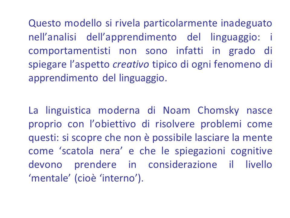 Questo modello si rivela particolarmente inadeguato nell'analisi dell'apprendimento del linguaggio: i comportamentisti non sono infatti in grado di spiegare l'aspetto creativo tipico di ogni fenomeno di apprendimento del linguaggio.