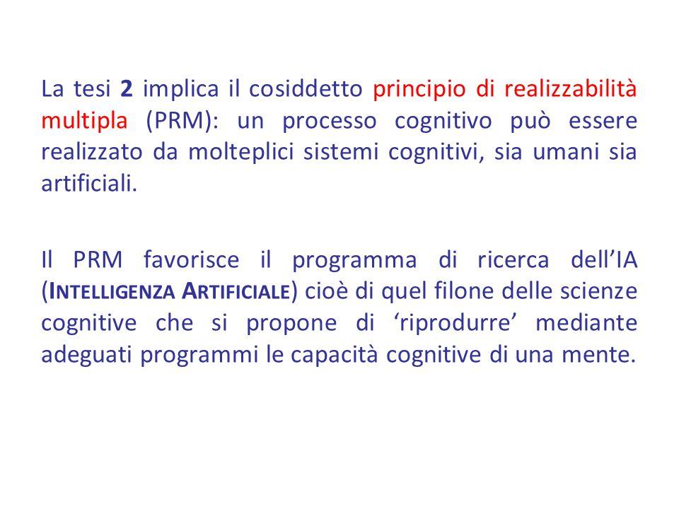 La tesi 2 implica il cosiddetto principio di realizzabilità multipla (PRM): un processo cognitivo può essere realizzato da molteplici sistemi cognitivi, sia umani sia artificiali.