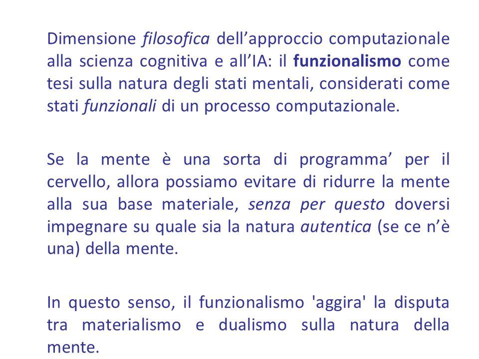 Dimensione filosofica dell'approccio computazionale alla scienza cognitiva e all'IA: il funzionalismo come tesi sulla natura degli stati mentali, considerati come stati funzionali di un processo computazionale.