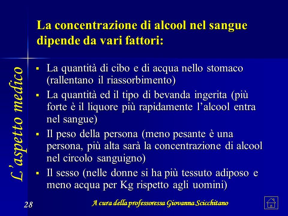 La concentrazione di alcool nel sangue dipende da vari fattori: