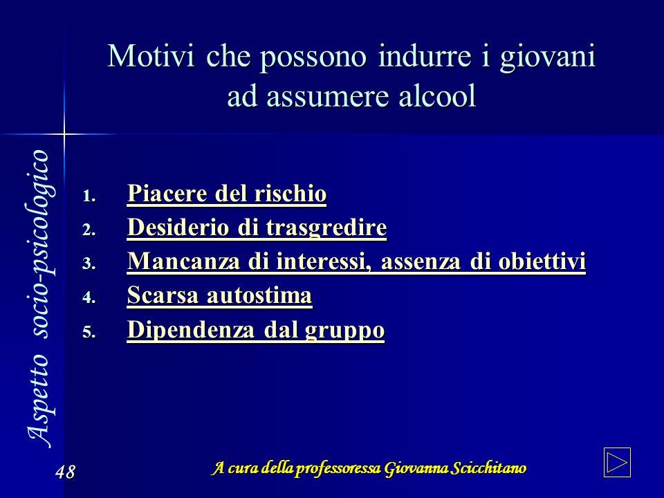 Motivi che possono indurre i giovani ad assumere alcool