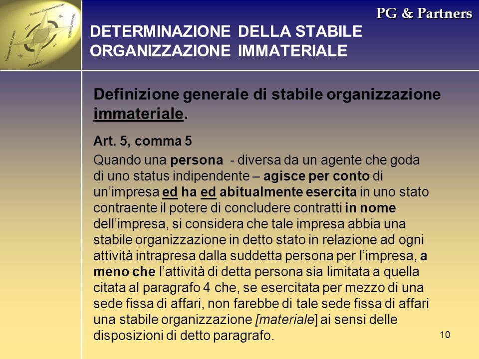 DETERMINAZIONE DELLA STABILE ORGANIZZAZIONE IMMATERIALE