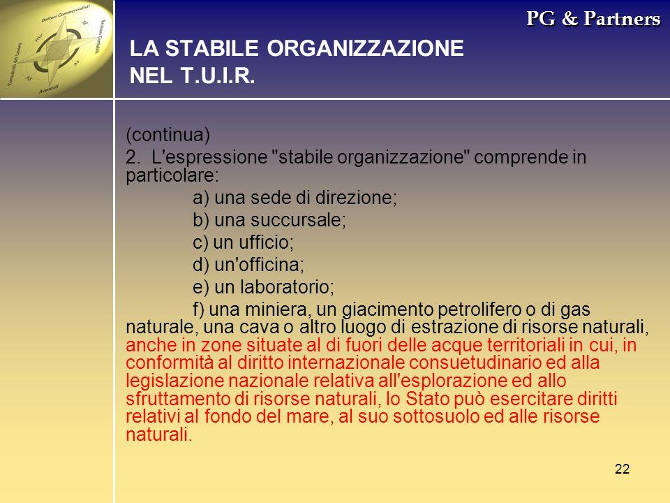 LA STABILE ORGANIZZAZIONE NEL T.U.I.R.