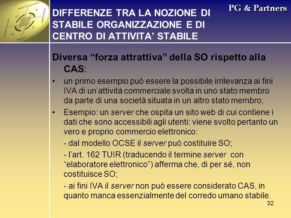 Diversa forza attrattiva della SO rispetto alla CAS: