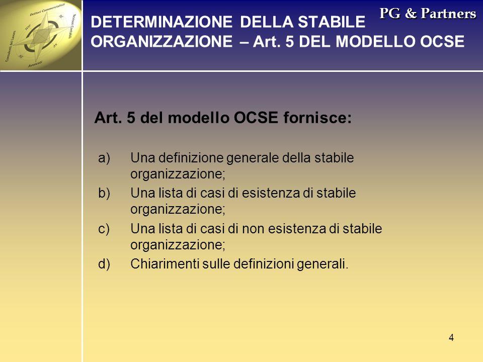 DETERMINAZIONE DELLA STABILE ORGANIZZAZIONE – Art. 5 DEL MODELLO OCSE