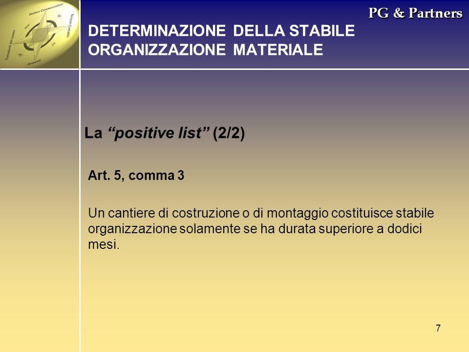 DETERMINAZIONE DELLA STABILE ORGANIZZAZIONE MATERIALE