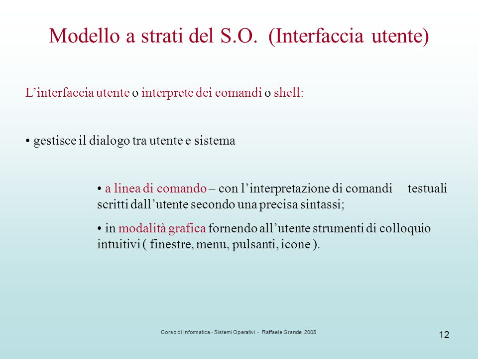 Modello a strati del S.O. (Interfaccia utente)