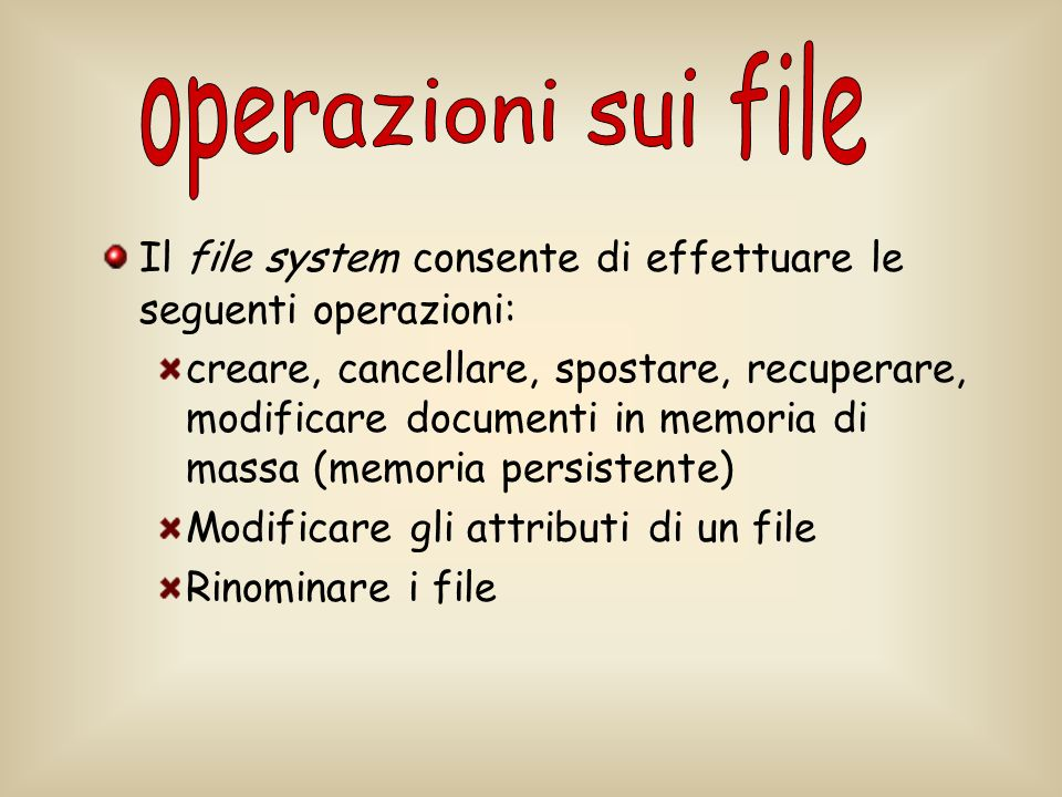 operazioni sui file Il file system consente di effettuare le seguenti operazioni:
