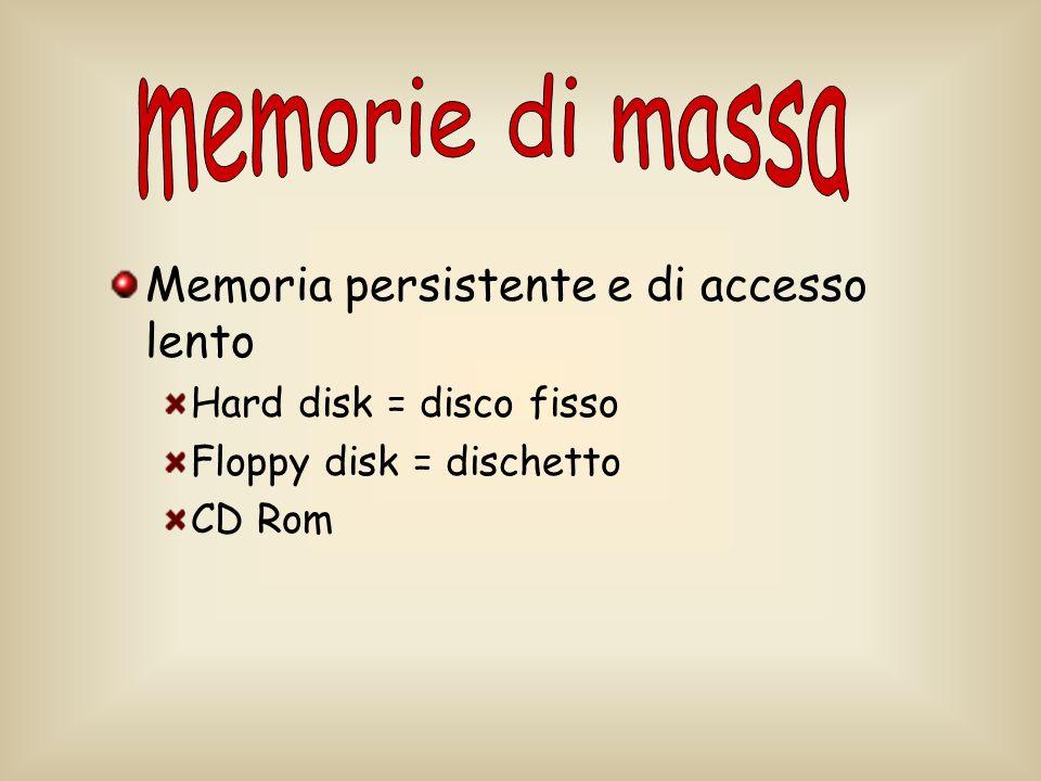 memorie di massa Memoria persistente e di accesso lento