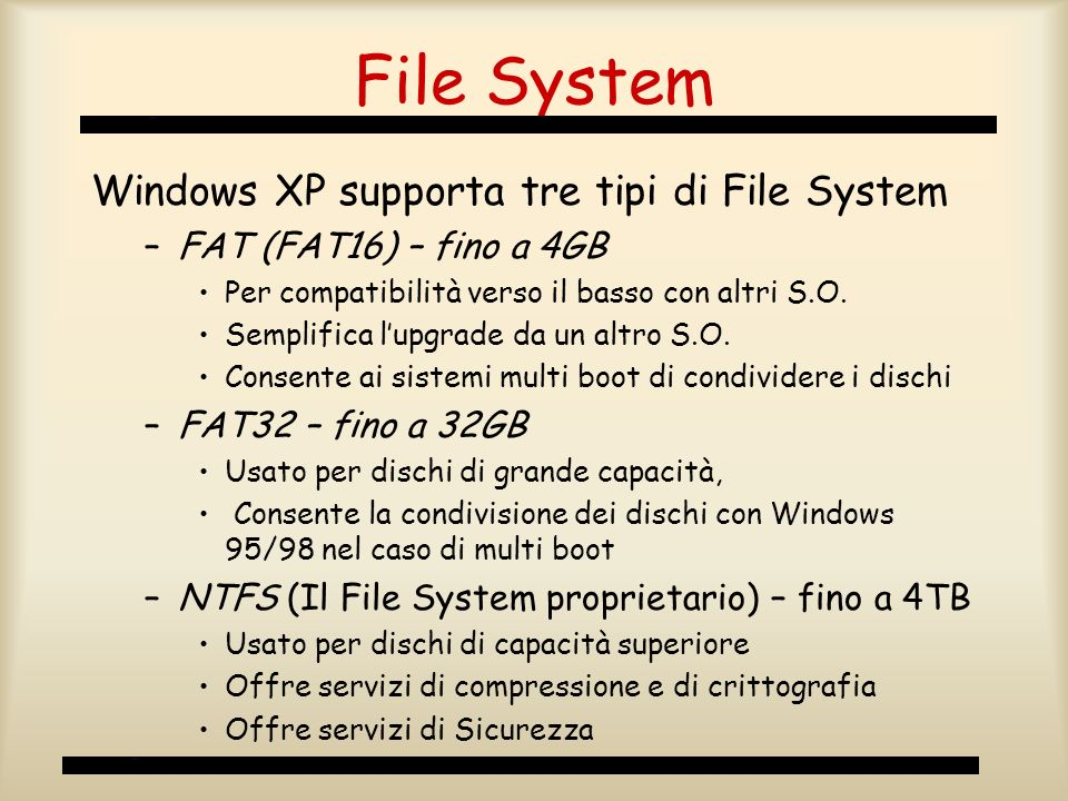 File System Windows XP supporta tre tipi di File System