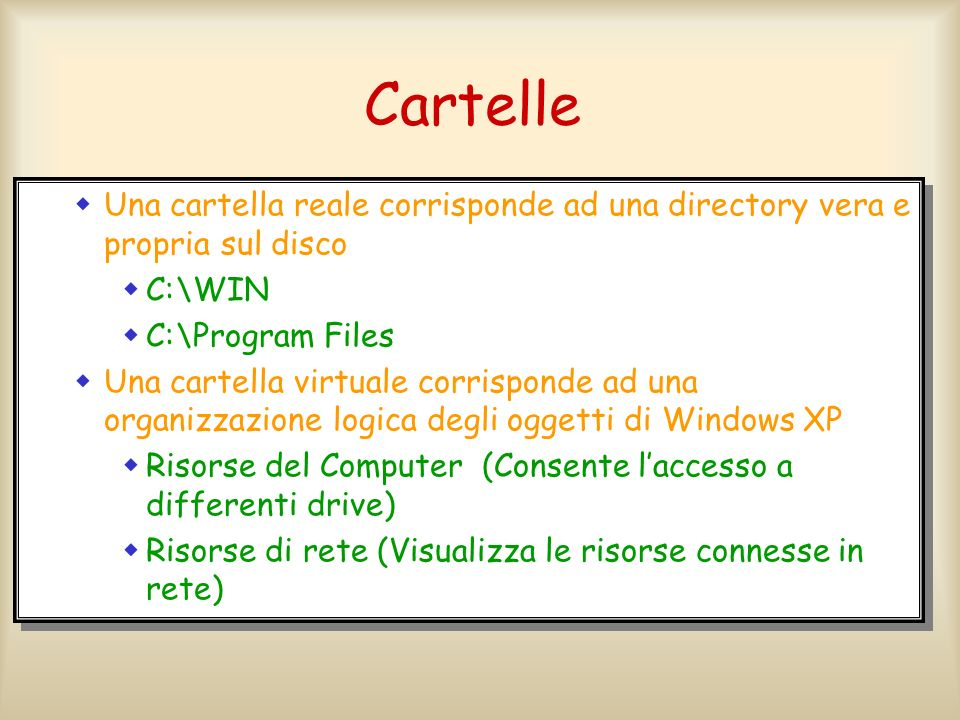 Cartelle Le cartelle di Windows XP possono essere reali o virtuali