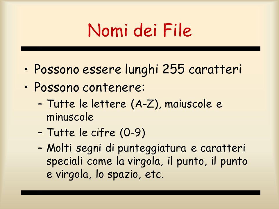 Nomi dei File Possono essere lunghi 255 caratteri Possono contenere: