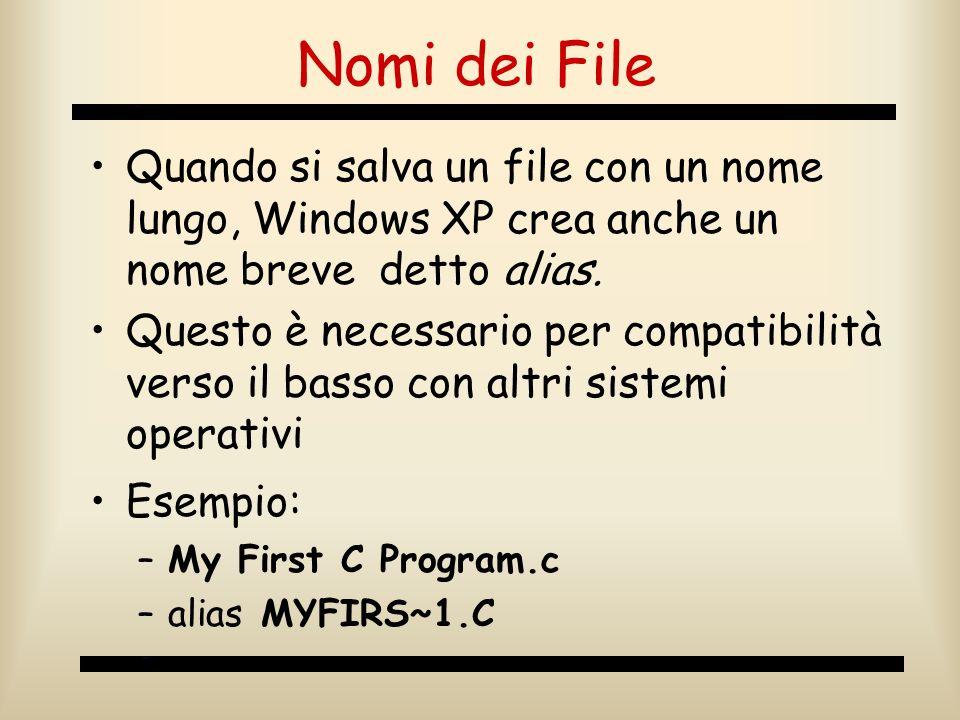 Nomi dei File Quando si salva un file con un nome lungo, Windows XP crea anche un nome breve detto alias.