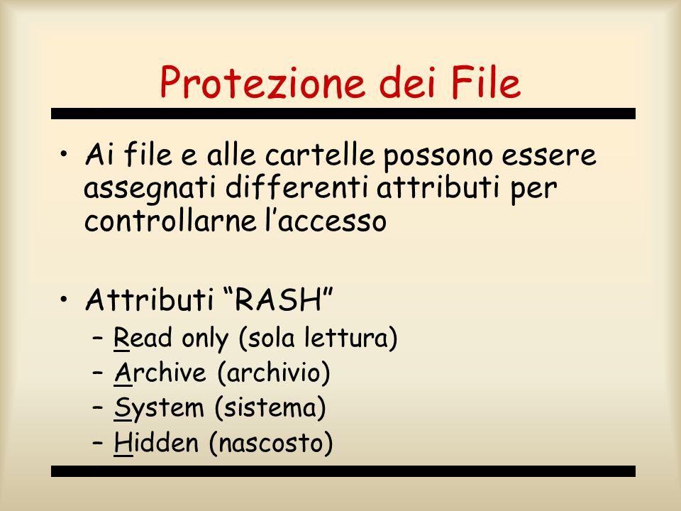 Protezione dei File Ai file e alle cartelle possono essere assegnati differenti attributi per controllarne l'accesso.