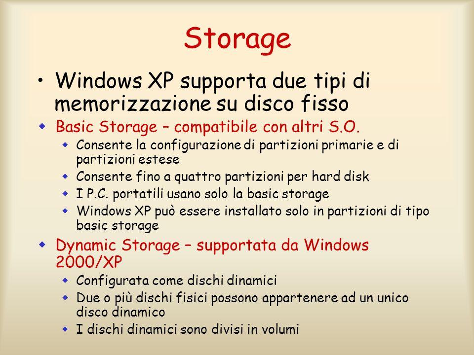 Storage Windows XP supporta due tipi di memorizzazione su disco fisso