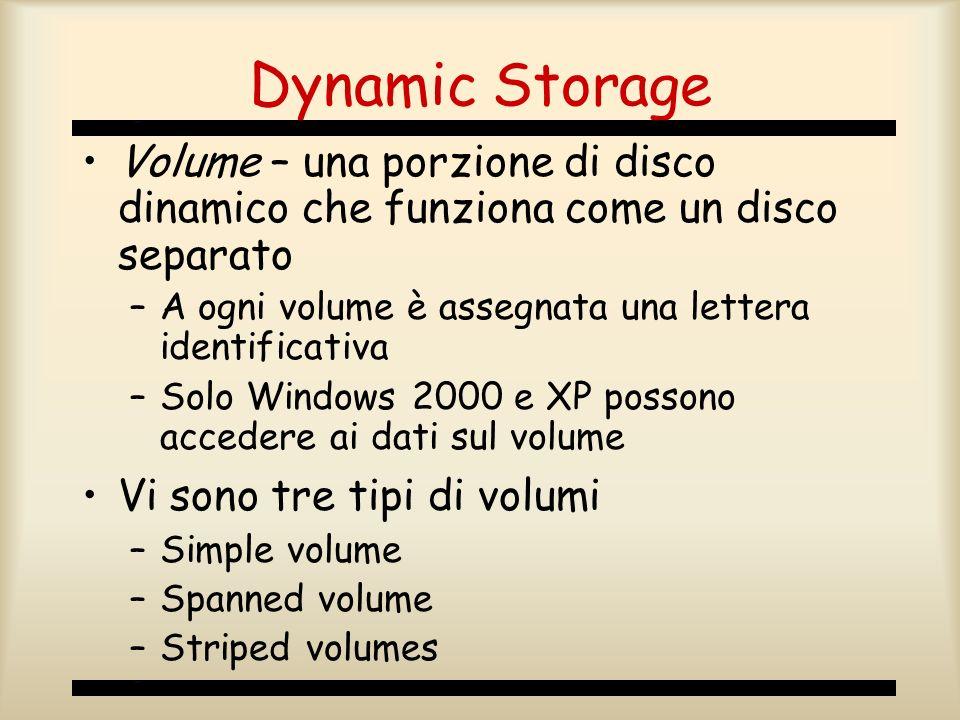 Dynamic Storage Volume – una porzione di disco dinamico che funziona come un disco separato. A ogni volume è assegnata una lettera identificativa.