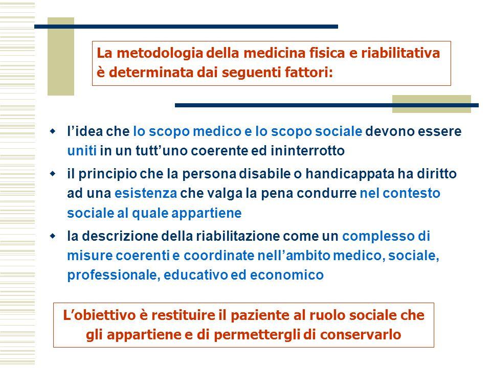 La metodologia della medicina fisica e riabilitativa è determinata dai seguenti fattori: