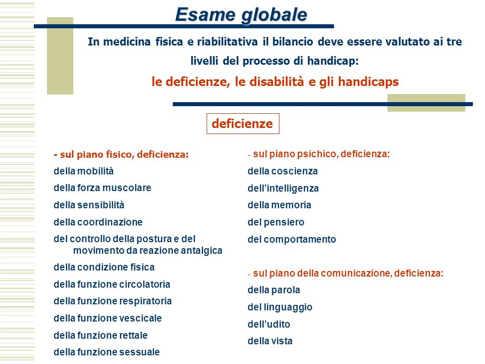 Esame globale deficienze