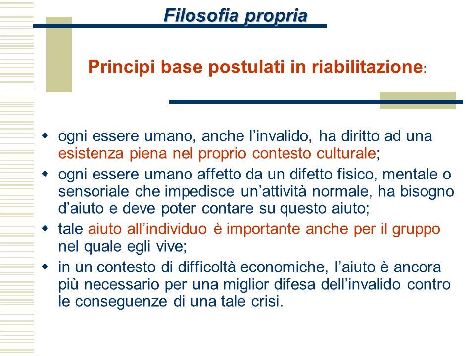 Filosofia propria Principi base postulati in riabilitazione: