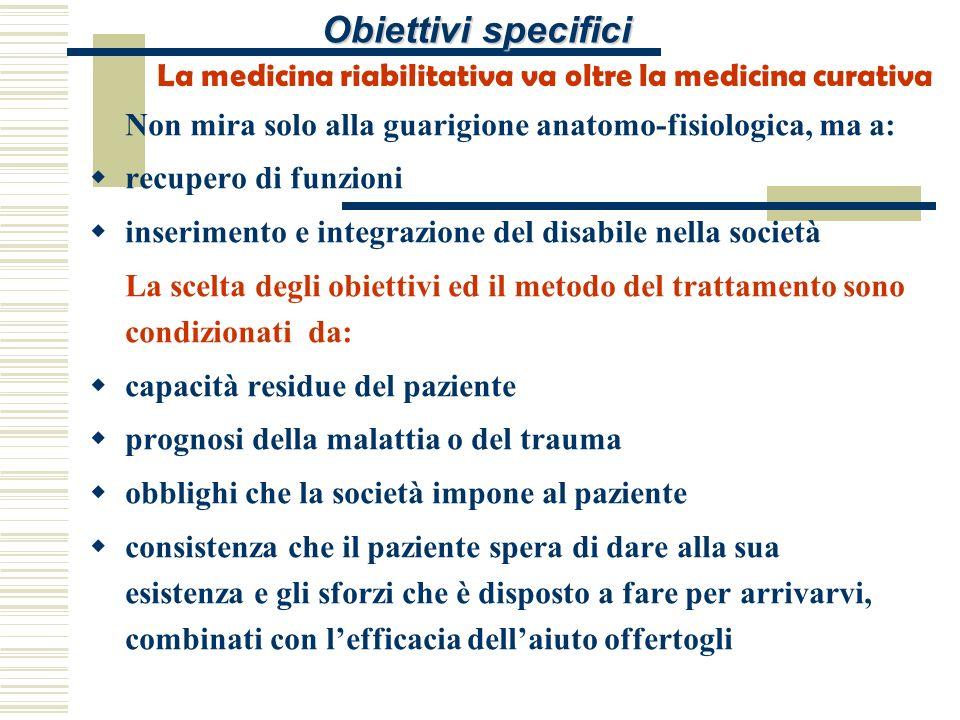 Obiettivi specifici La medicina riabilitativa va oltre la medicina curativa. Non mira solo alla guarigione anatomo-fisiologica, ma a: