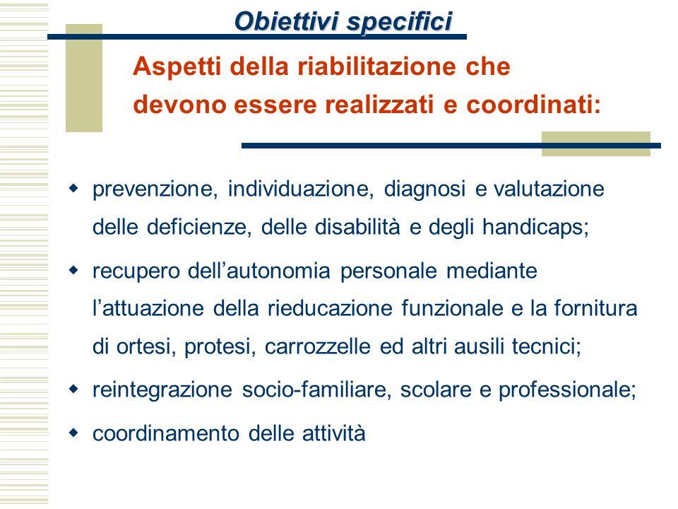 Obiettivi specifici Aspetti della riabilitazione che devono essere realizzati e coordinati: