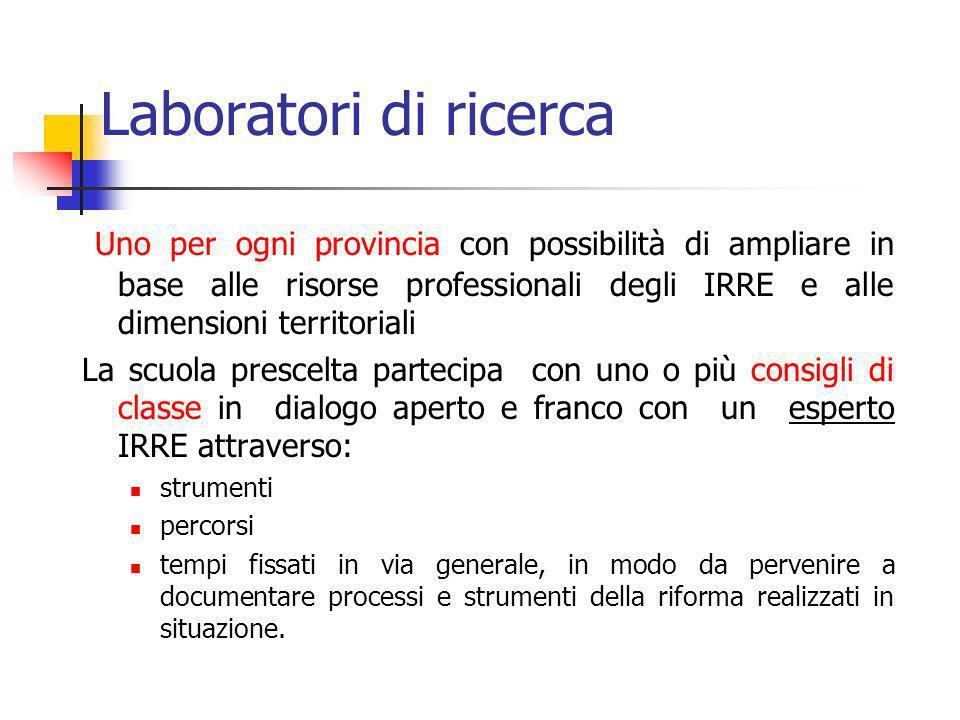 Laboratori di ricercaUno per ogni provincia con possibilità di ampliare in base alle risorse professionali degli IRRE e alle dimensioni territoriali.
