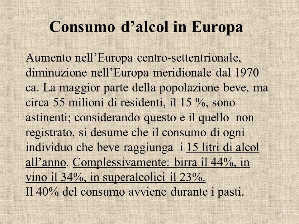 Consumo d'alcol in Europa Aumento nell'Europa centro-settentrionale, diminuzione nell'Europa meridionale dal 1970 ca.