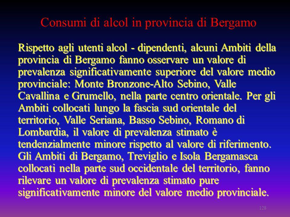 Consumi di alcol in provincia di Bergamo Rispetto agli utenti alcol - dipendenti, alcuni Ambiti della provincia di Bergamo fanno osservare un valore di prevalenza significativamente superiore del valore medio provinciale: Monte Bronzone-Alto Sebino, Valle Cavallina e Grumello, nella parte centro orientale.