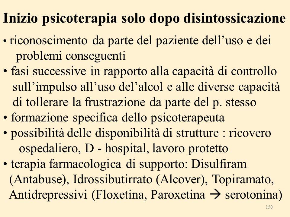 Inizio psicoterapia solo dopo disintossicazione