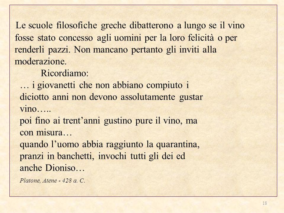 Le scuole filosofiche greche dibatterono a lungo se il vino fosse stato concesso agli uomini per la loro felicità o per renderli pazzi.