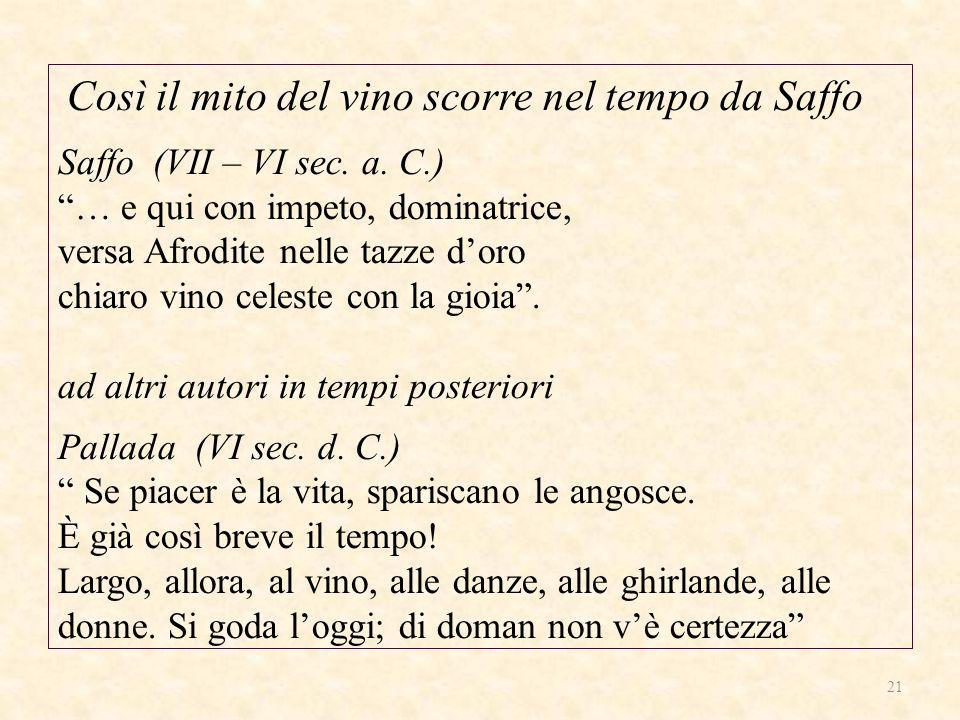 Così il mito del vino scorre nel tempo da Saffo